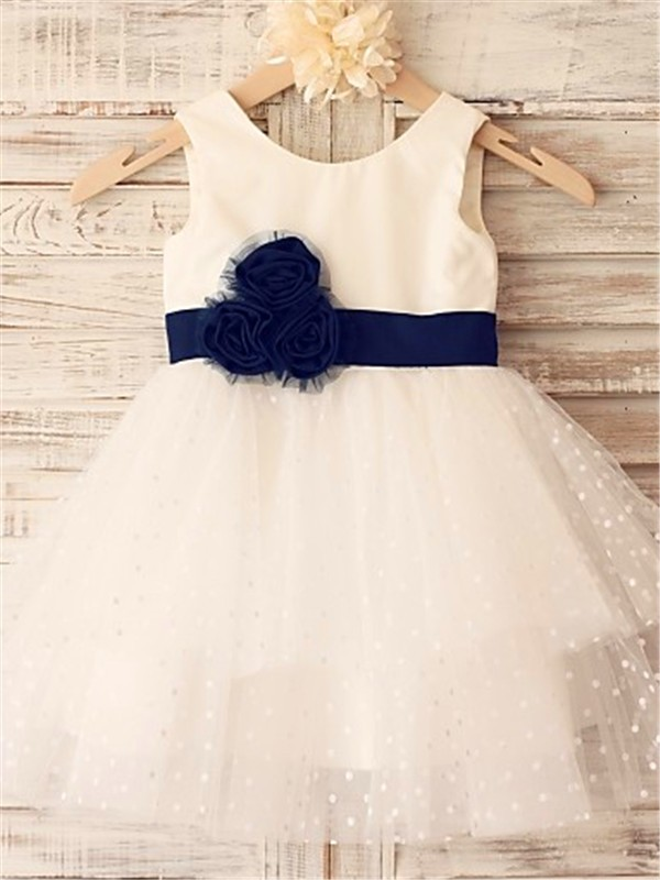 A-line/Princess Sleeveless Scoop Tea-Length Organza Flower Girl Dresses with Hand-made Flower