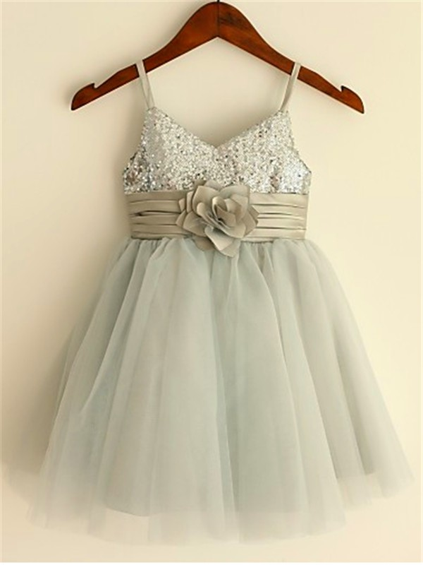 Princess Spaghetti Straps Sleeveless Tea-Length Tulle Flower Girl Dresses with Sequin