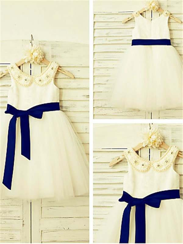 A-line Scoop Sleeveless Tea-Length Tulle Flower Girl Dresses with Bowknot