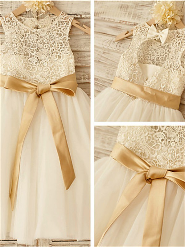 A-line Scoop Sleeveless Knee-Length Tulle Flower Girl Dresses with Bowknot