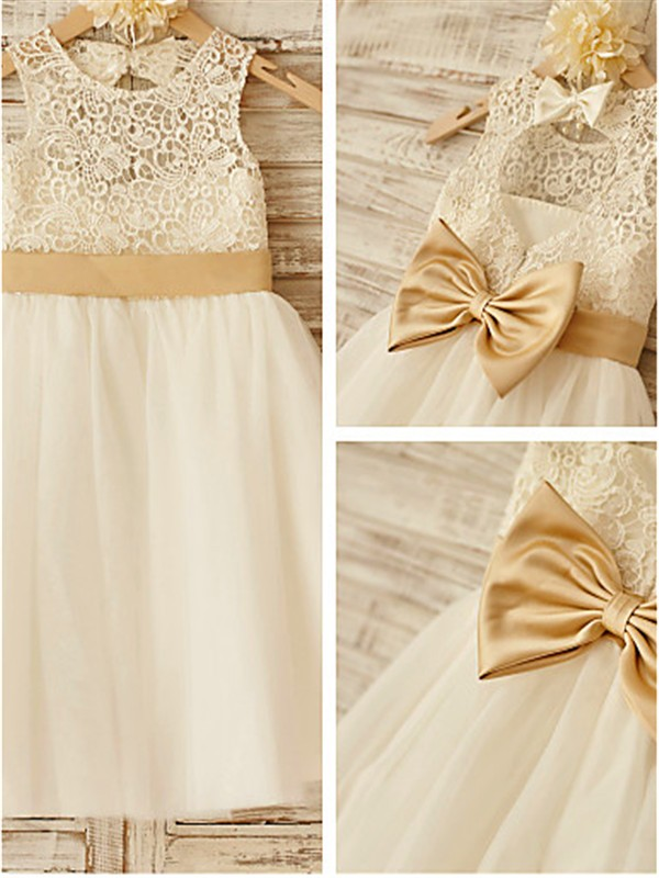 A-line/Princess Sleeveless Scoop Knee-Length Tulle Flower Girl Dresses with Bowknot