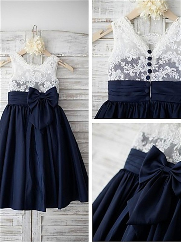 A-line/Princess Straps Sleeveless Tea-length Taffeta Flower Girl Dresses with Bowknot