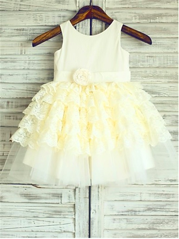 Ball Gown Scoop Sleeveless Layers Tea-Length Lace Flower Girl Dresses