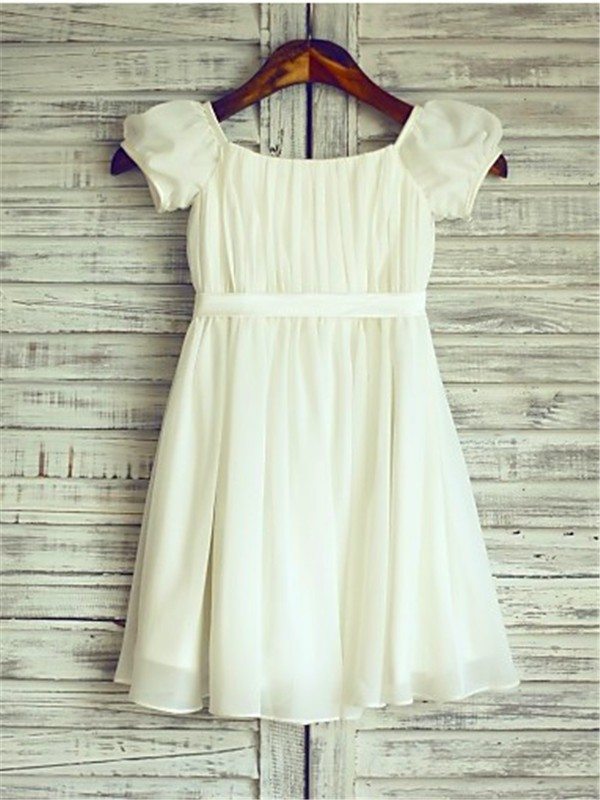 A-line/Princess Square Short Sleeves Tea-Length Chiffon Flower Girl Dresses with Ruched