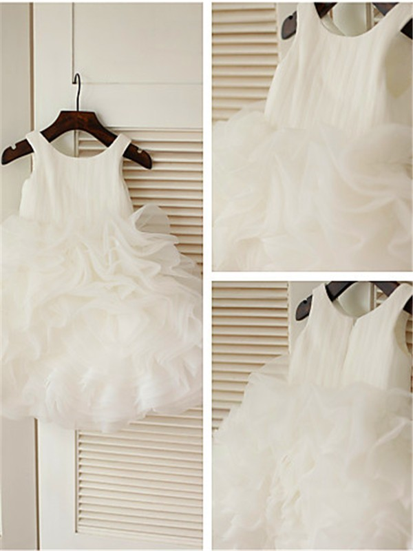 Ball Gown Scoop Layers Knee-Length Organza Flower Girl Dresses