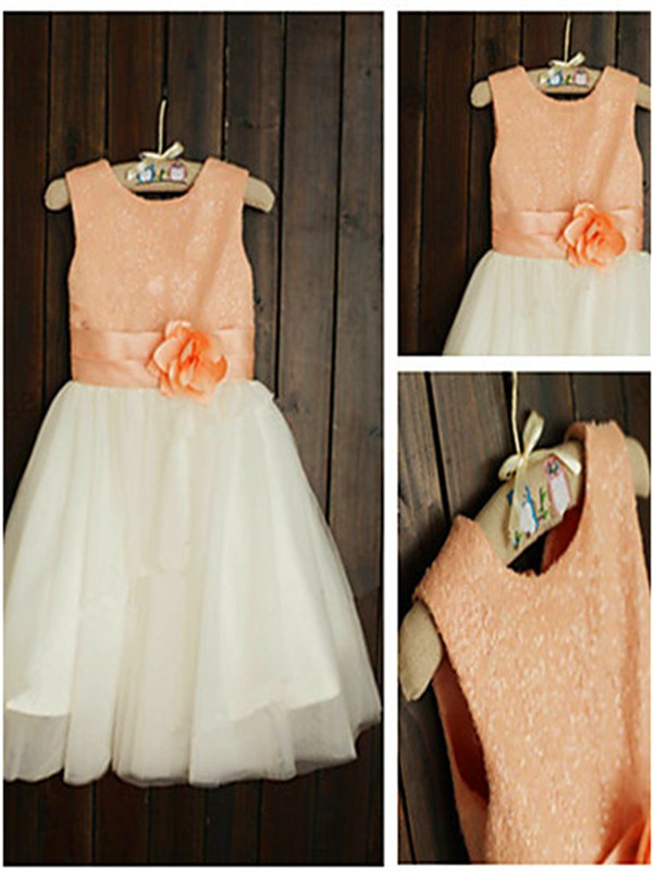 Princess Scoop Sleeveless Tea-Length Tulle Flower Girl Dresses with Sequin