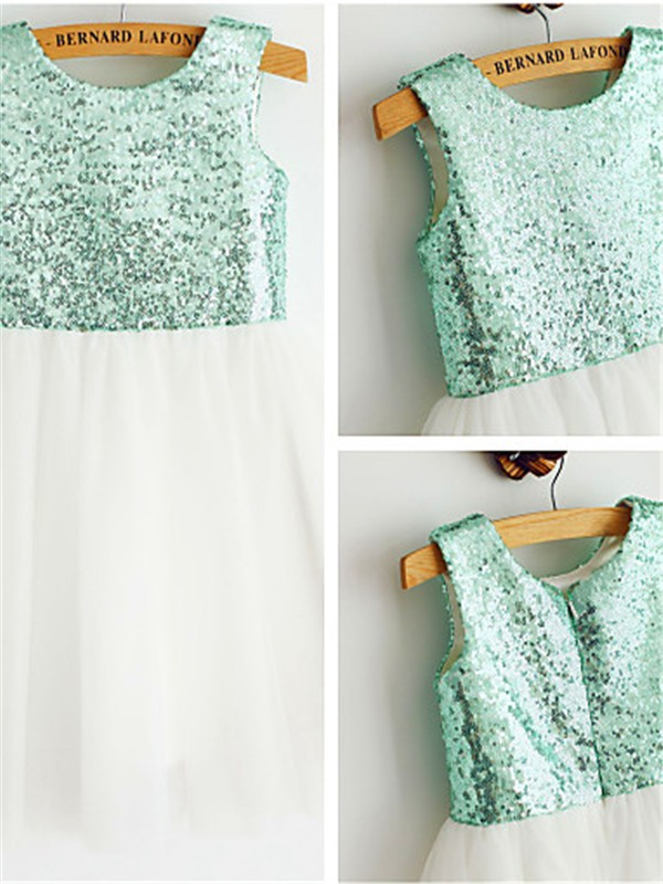 A-line Scoop Tea-Length Tulle Flower Girl Dresses with Sequin