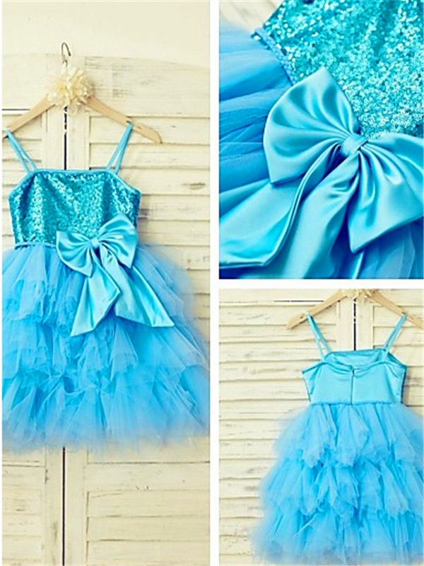 A-line Spaghetti Straps Sleeveless Tea-Length Net Flower Girl Dresses with Sequin