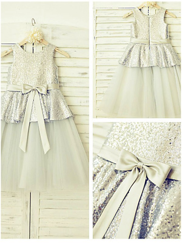 A-line/Princess Sleeveless Scoop Tea-length Tulle Flower Girl Dresses with Sequin