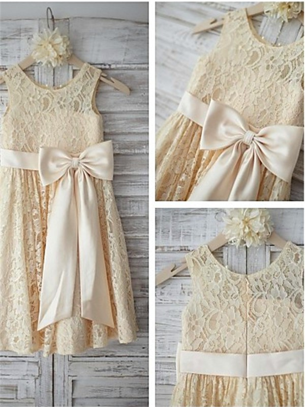 A-line Sleeveless Scoop Knee-Length Lace Flower Girl Dresses with Bowknot