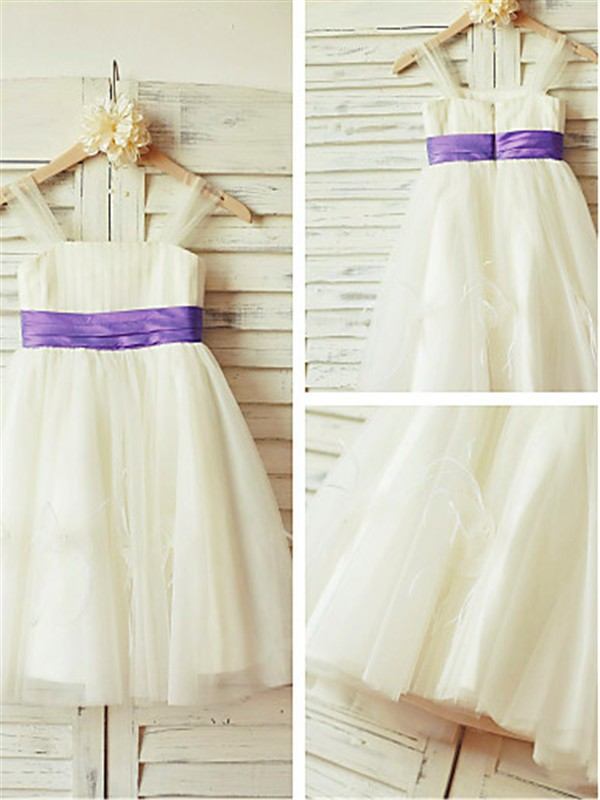 A-line/Princess Straps Sleeveless Tea-length Tulle Flower Girl Dresses with Ruffles