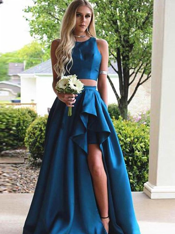 A-Line/Princess Scoop Sweep/Brush Train Satin Two Piece Dresses with Ruffles