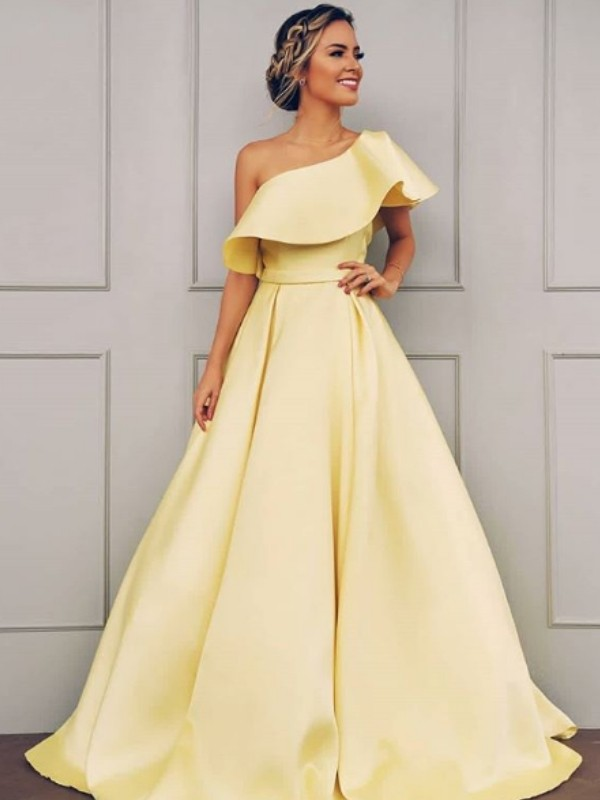 A-Line/Princess One-Shoulder Floor-Length Satin Dresses with Ruffles