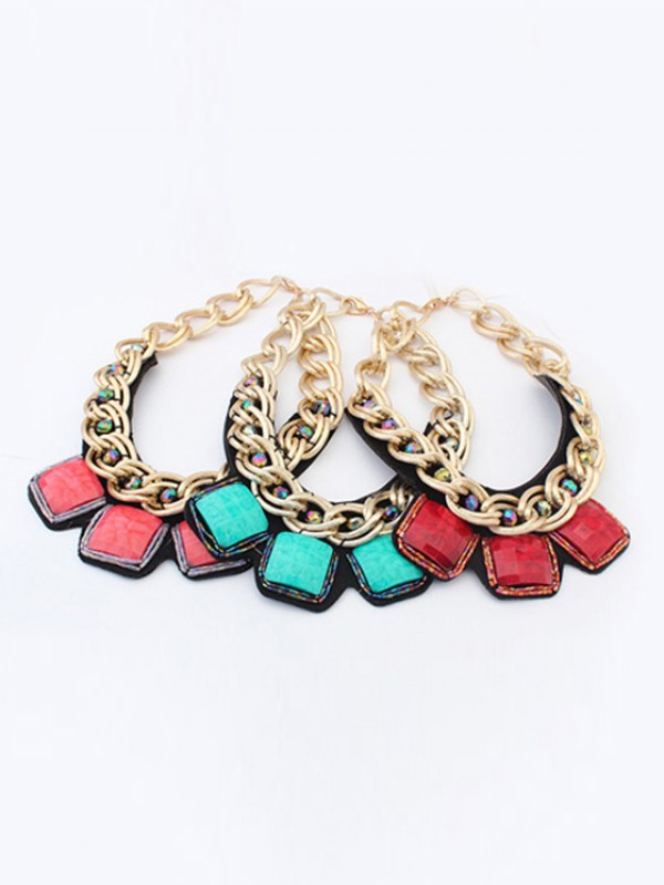 Occident Hyperbolic Metallic thick chains Personality Necklace