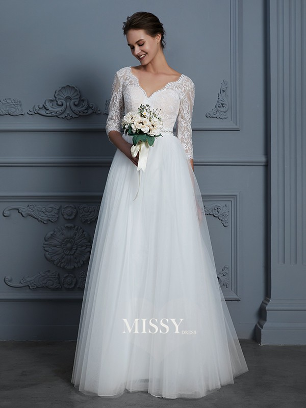 A-Line/Princess V-neck Floor-Length Tulle Wedding Dresses with Lace