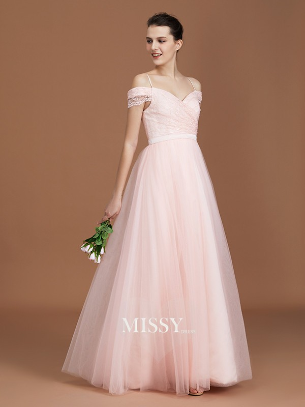 A-Line/Princess Lace Spaghetti Straps Sweetheart Floor-Length Tulle Bridesmaid Dresses with Ruched