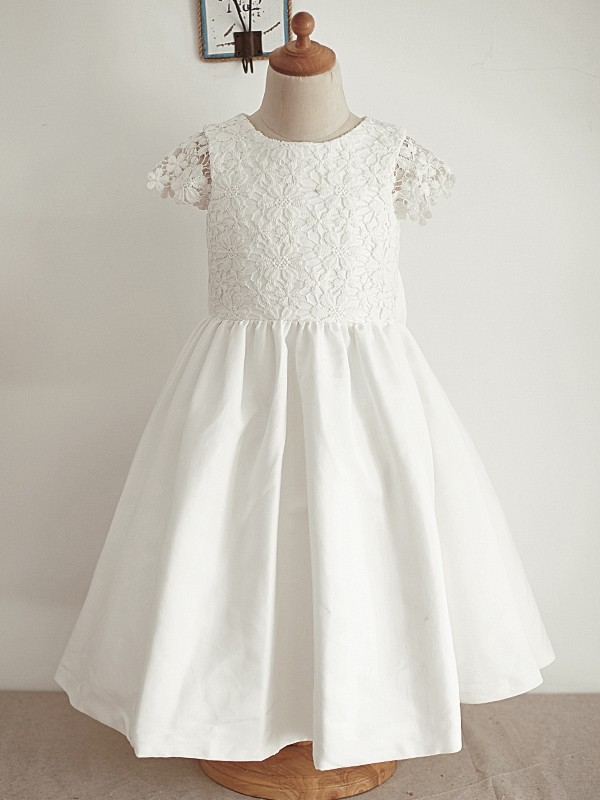 A-Line/Princess Lace Scoop Sleeveless Knee-Length Flower Girl Dresses with Sequin