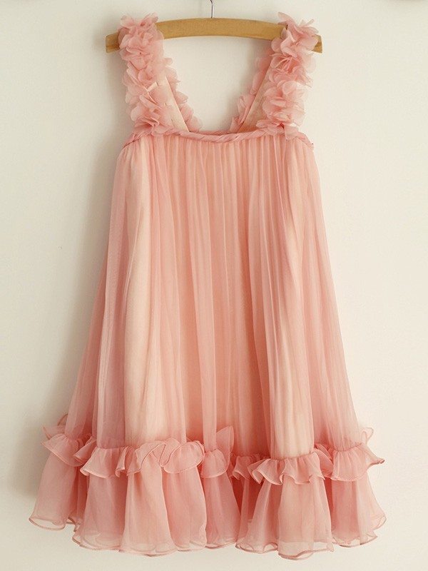 A-Line/Princess Straps Sleeveless Chiffon Knee-Length Flower Girl Dresses with Ruffles