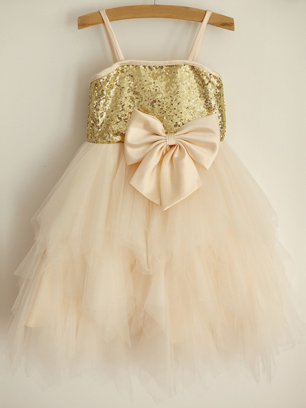 A-Line/Princess Spaghetti Straps Sleeveless Tulle Knee-Length Flower Girl Dresses with Sequin