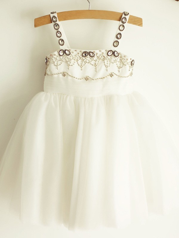 A-Line/Princess Straps Sleeveless Tulle Knee-Length Flower Girl Dresses with Beading