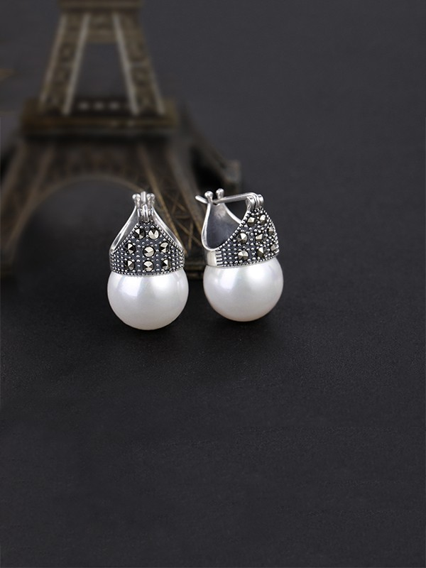 Latest Design Silver Pearl Earrings