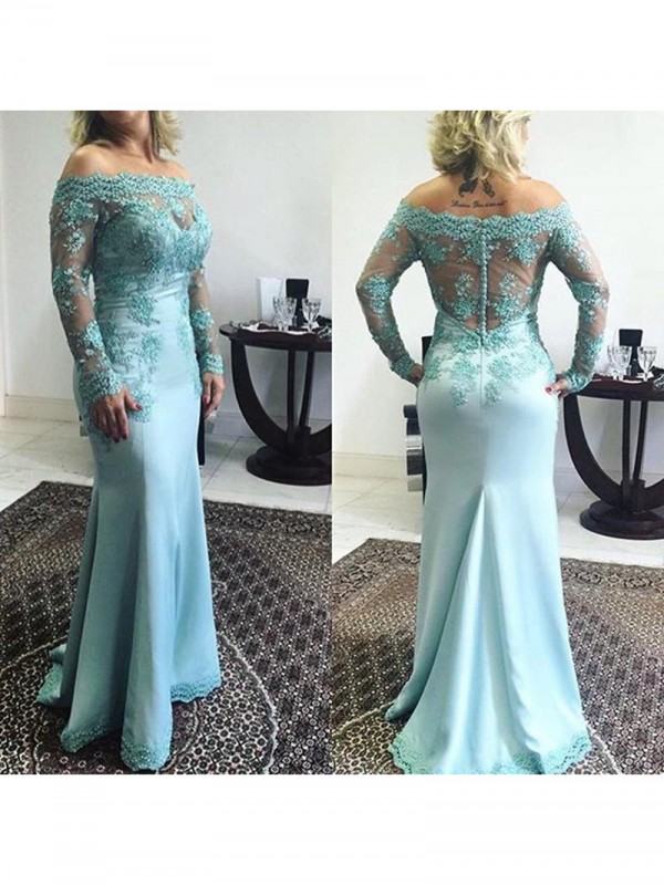 Trumpet/Mermaid Off-the-Shoulder Sweep/Brush Train Elastic Woven Satin Mother Of The Bride Dresses with Applique