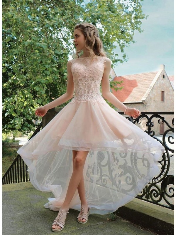 A-Line/Princess Organza Sheer Neck Sleeveless Asymmetrical Homecoming Dresses with Applique
