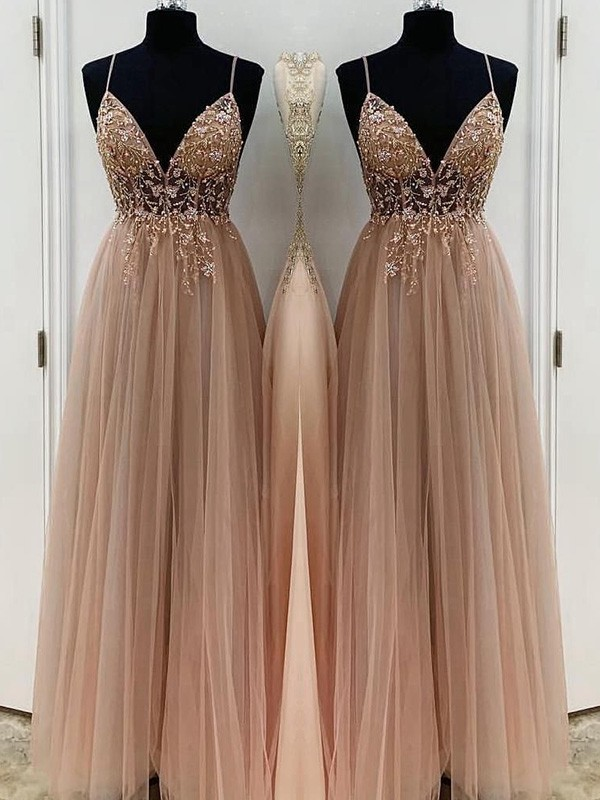 A-Line/Princess Tulle Spaghetti Straps Sleeveless Floor-Length Dresses with Beading