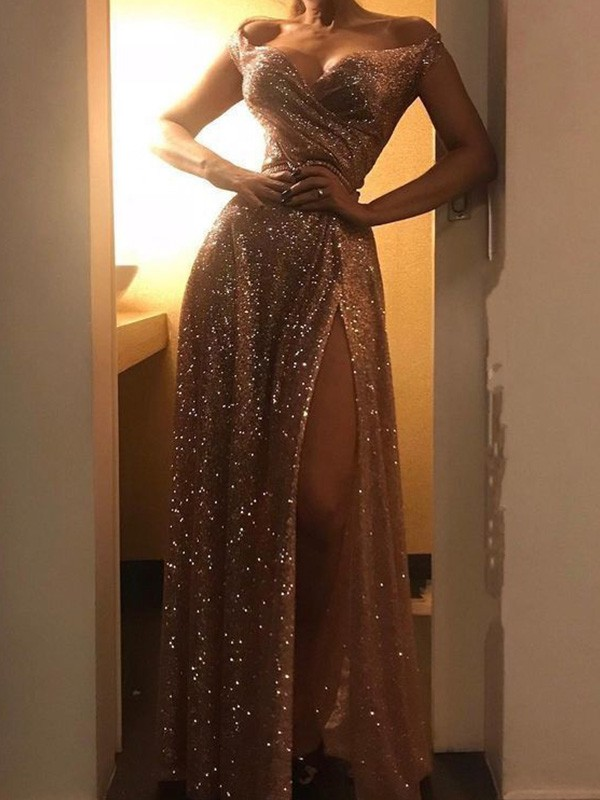 A-Line/Princess Sequins Off-the-Shoulder Sleeveless Floor-Length Dresses with Ruched