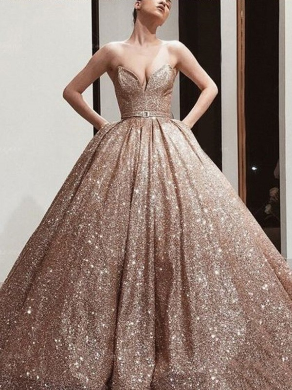 Ball Gown Sequins Sweetheart Sleeveless Sweep/Brush Train Dresses with Sash/Ribbon/Belt
