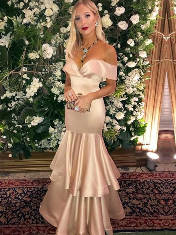 Trumpet/Mermaid Satin Off-the-Shoulder Sleeveless Floor-Length Dresses with Layers