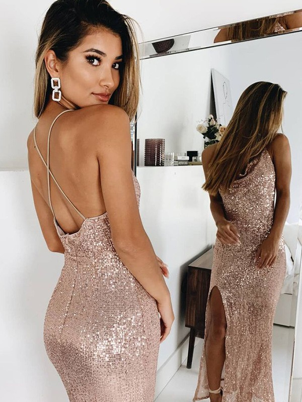Trumpet/Mermaid Spaghetti Straps Sleeveless Sequins Ankle-Length Dresses with Ruched