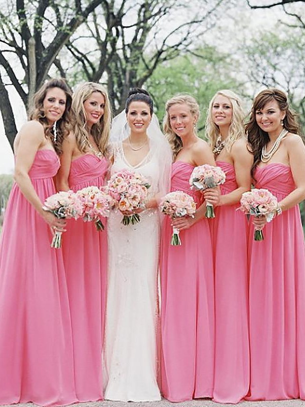 A-Line/Princess Sweetheart Chiffon Floor-Length Bridesmaid Dresses