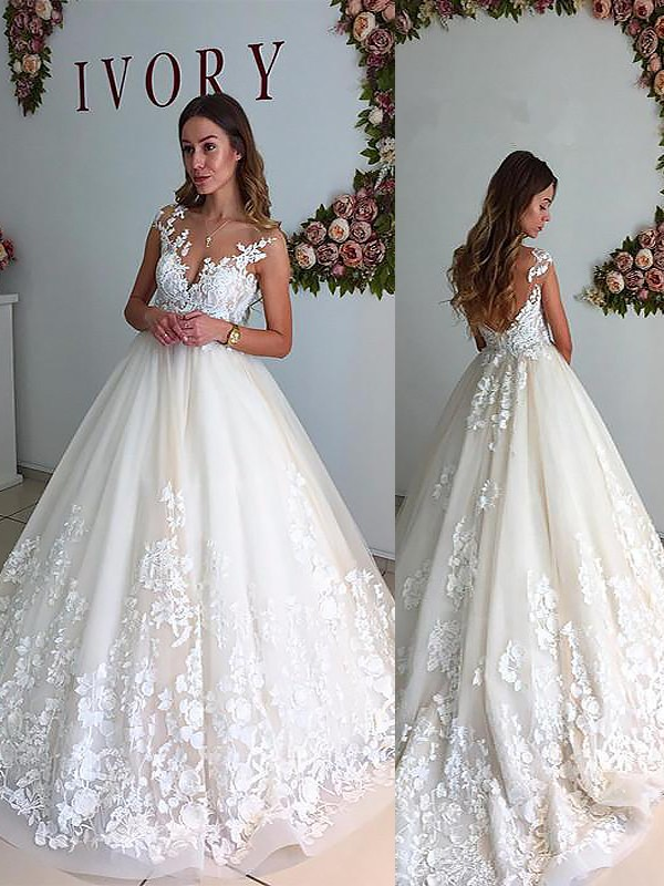 A-Line/Princess V-neck Court Train Tulle Wedding Dresses