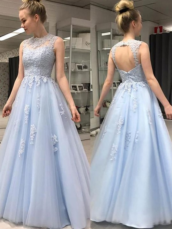 A-Line/Princess Sleeveless Sheer Neck Floor-Length Tulle Dresses with Applique