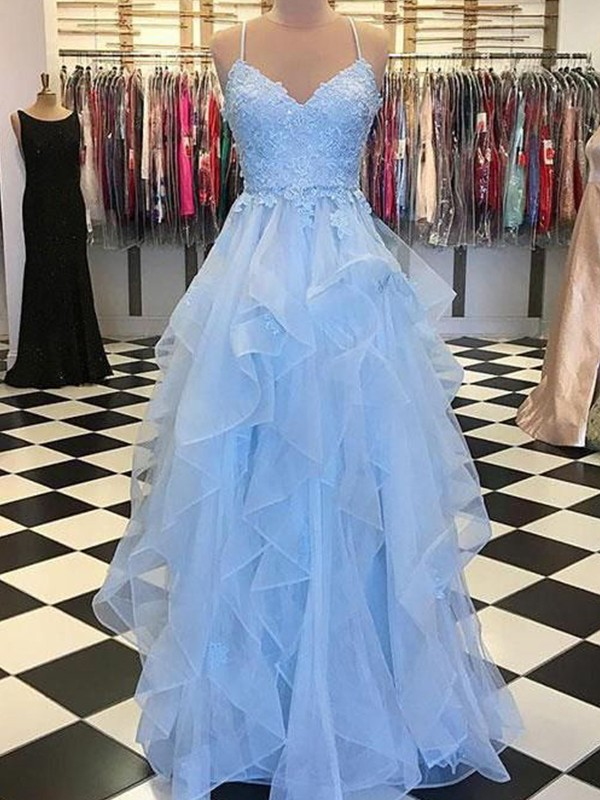 A-Line/Princess Sleeveless Spaghetti Straps Floor-Length Organza Dresses with Applique