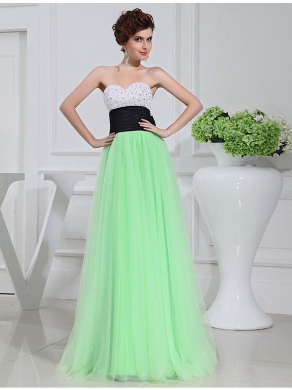 A-Line/Princess Satin Tulle Long Dress