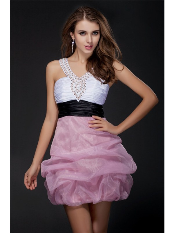 Ball Gown V-neck Short Sash Organza Elastic Woven Satin Cocktail Dress