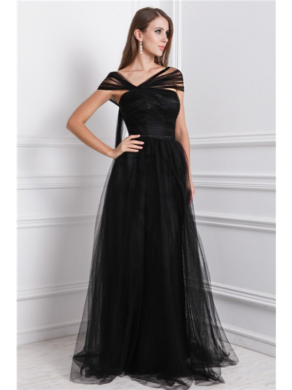 A-Line/Princess Bateau Ruffles Long Net Dress