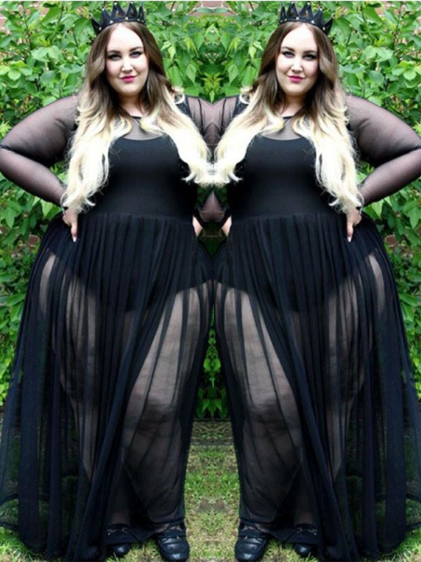 A-Line/Princess Sheer Neck Floor-Length Chiffon Plus Size Dresses with Ruched