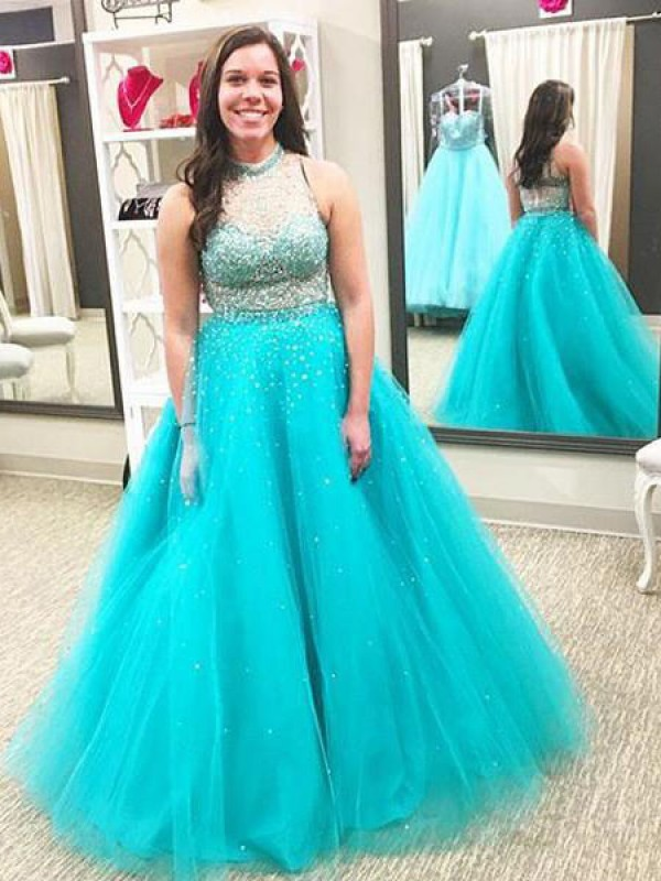 Ball Gown High Neck Floor-Length Tulle Plus Size Dresses with Beading