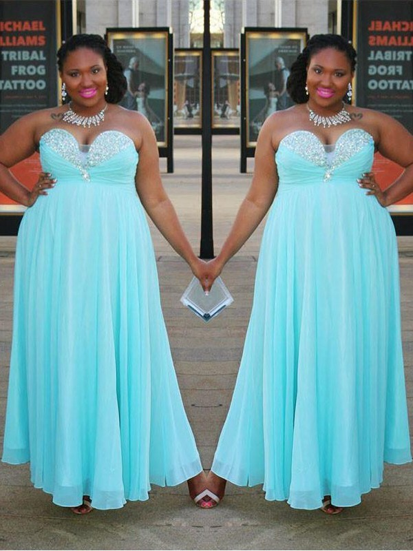 A-Line/Princess Sweetheart Floor-Length Chiffon Plus Size Dresses with Beading