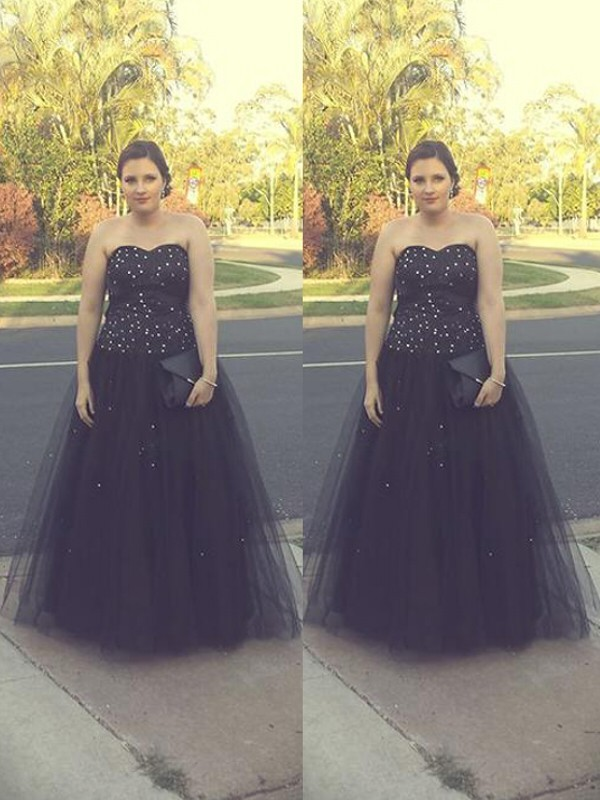 Ball Gown Sweetheart Floor-Length Tulle Plus Size Dresses with Beading