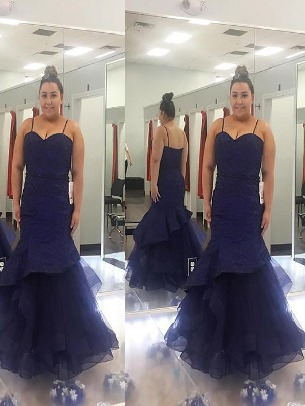 Trumpet/Mermaid Spaghetti Straps Floor-Length Tulle Plus Size Dresses with Ruched