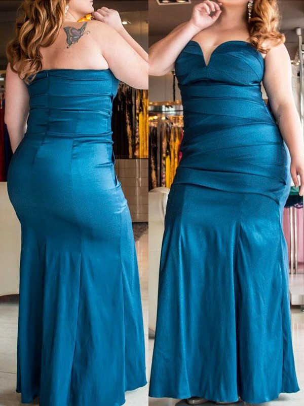 Trumpet/Mermaid Sweetheart Floor-Length Elastic Woven Satin Plus Size Dresses with Ruched