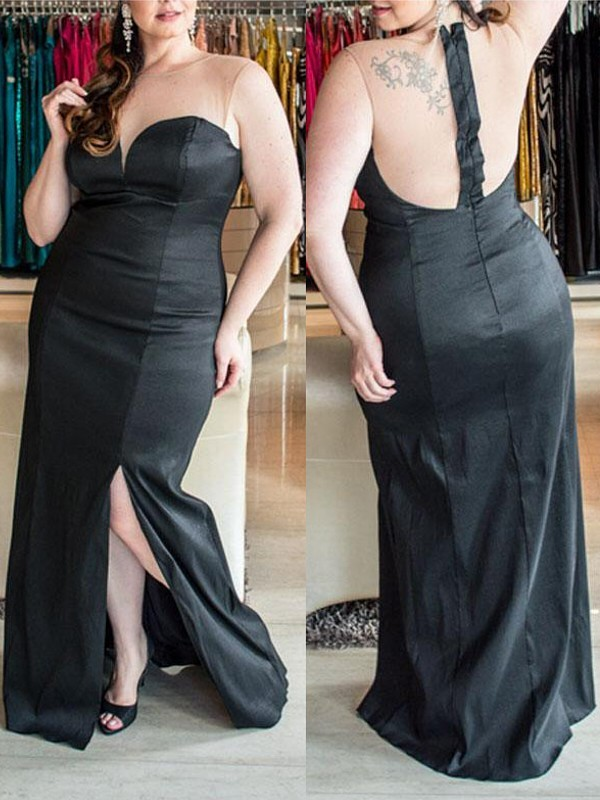 Sheath/Column Sweetheart Floor-Length Elastic Woven Satin Plus Size Dresses with Ruched