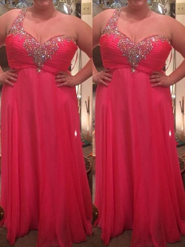A-Line/Princess One-Shoulder Floor-Length Chiffon Plus Size Dresses with Beading