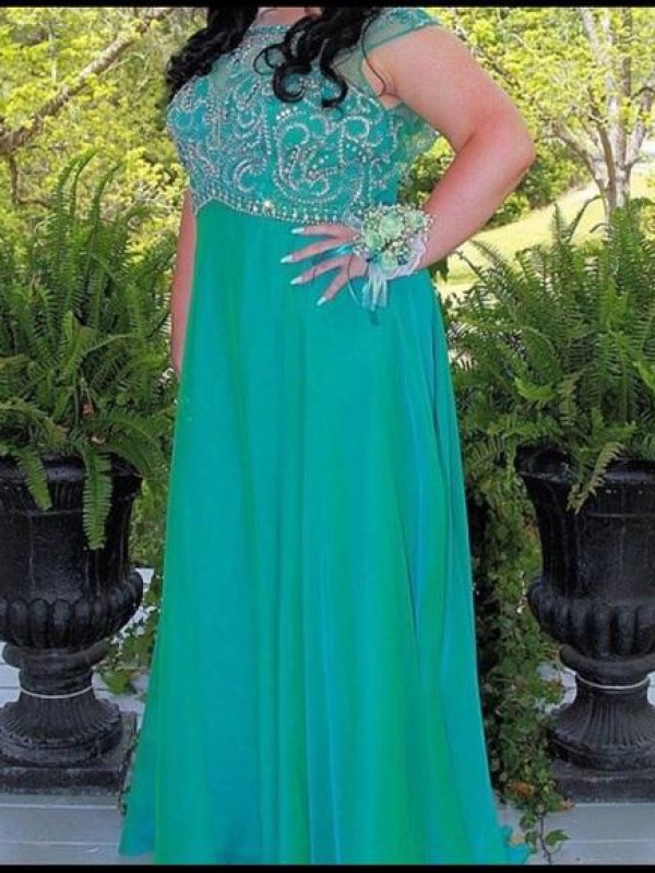 A-Line/Princess Scoop Floor-Length Chiffon Plus Size Dresses with Beading