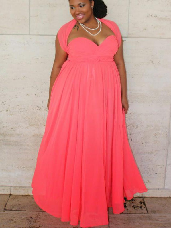 A-Line/Princess Sweetheart Floor-Length Chiffon Plus Size Dresses with Ruched