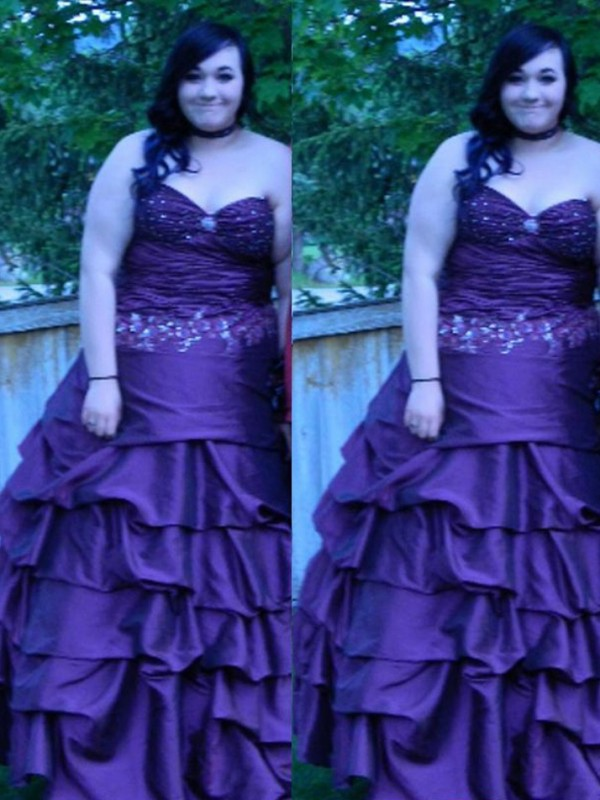 Ball Gown Sweetheart Floor-Length Taffeta Plus Size Dresses with Beading